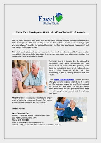 Home Care Warrington – Get Services From Trained Professionals by