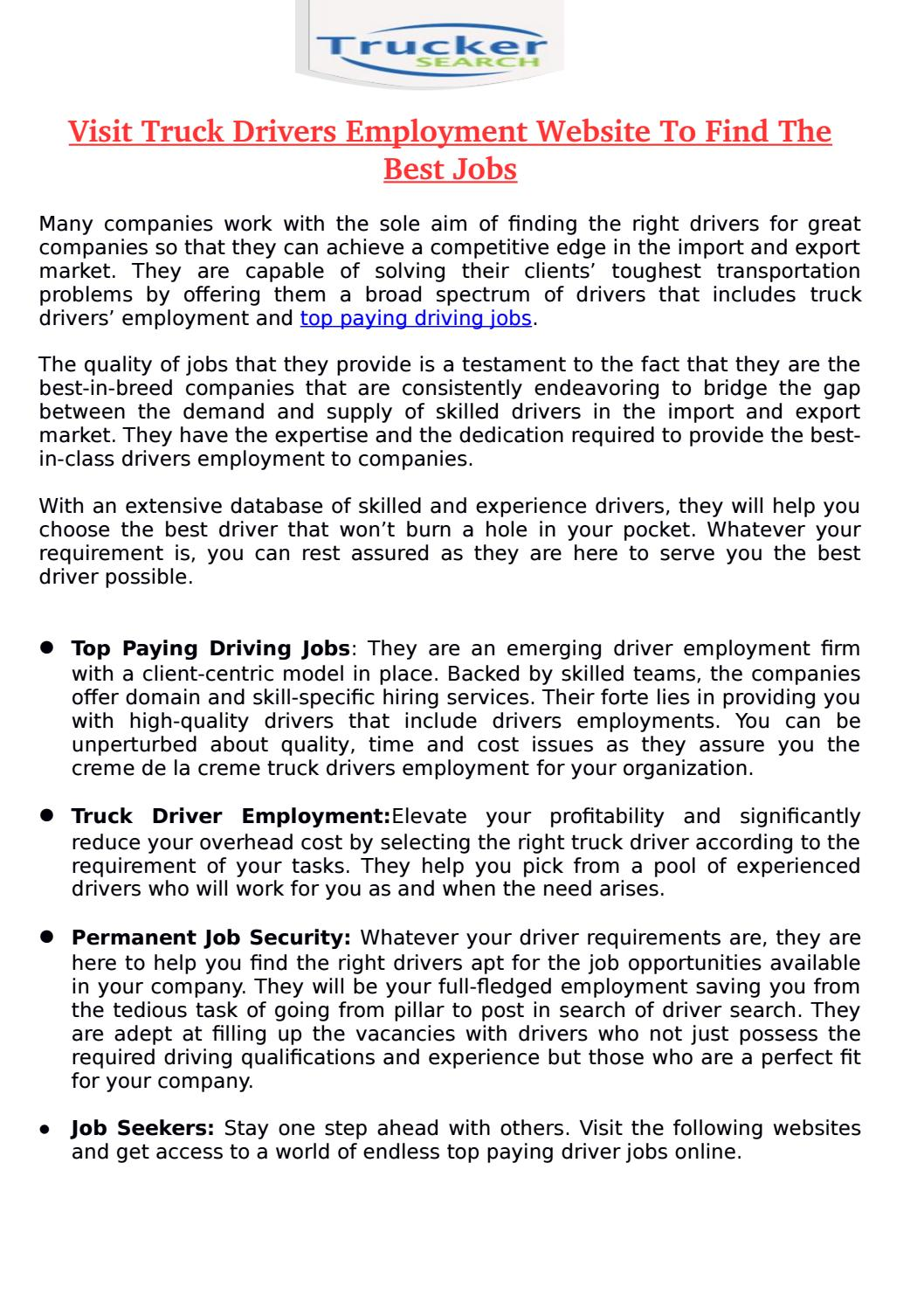 Visit truck drivers employment website to find the best jobs