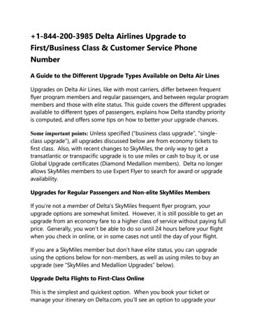 1-844-200-3985 Delta Airlines Upgrade to First/Business Class ...