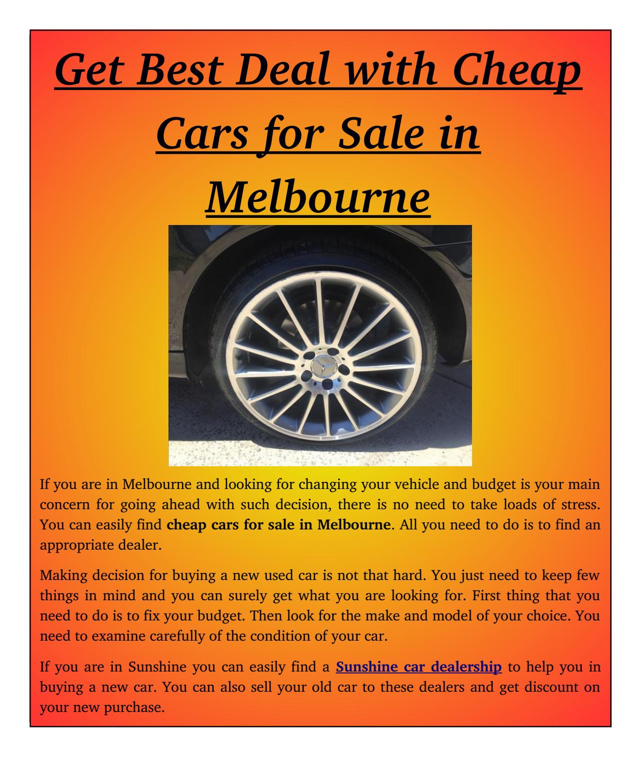 Get best deal with cheap cars for sale in melbourne by Buy Used Cars ...