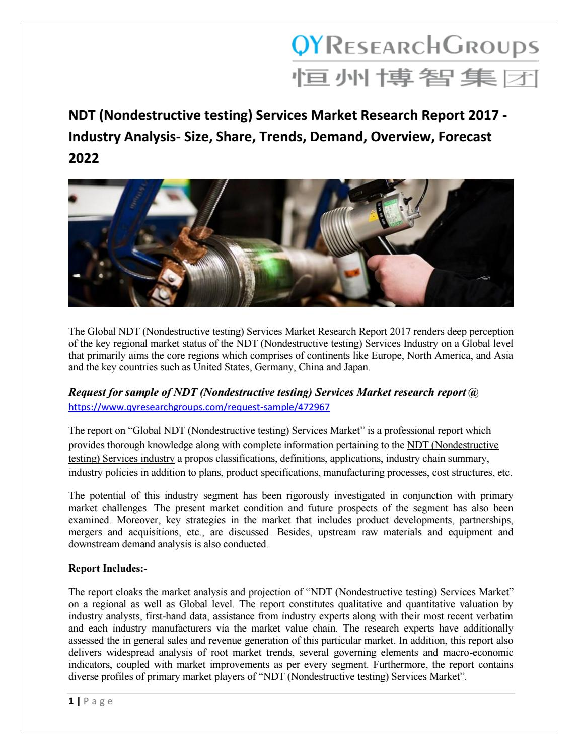 jsb market research non destructive testing Home uncategorized non-destructive testing and inspection sales market analysis and professional outlook 2017 to uncategorized non-destructive testing and inspection sales market analysis and professional outlook 2017 to 2022.