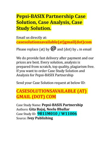 Case Solution for Pepsi-BASIX Partnership by Case Solution and
