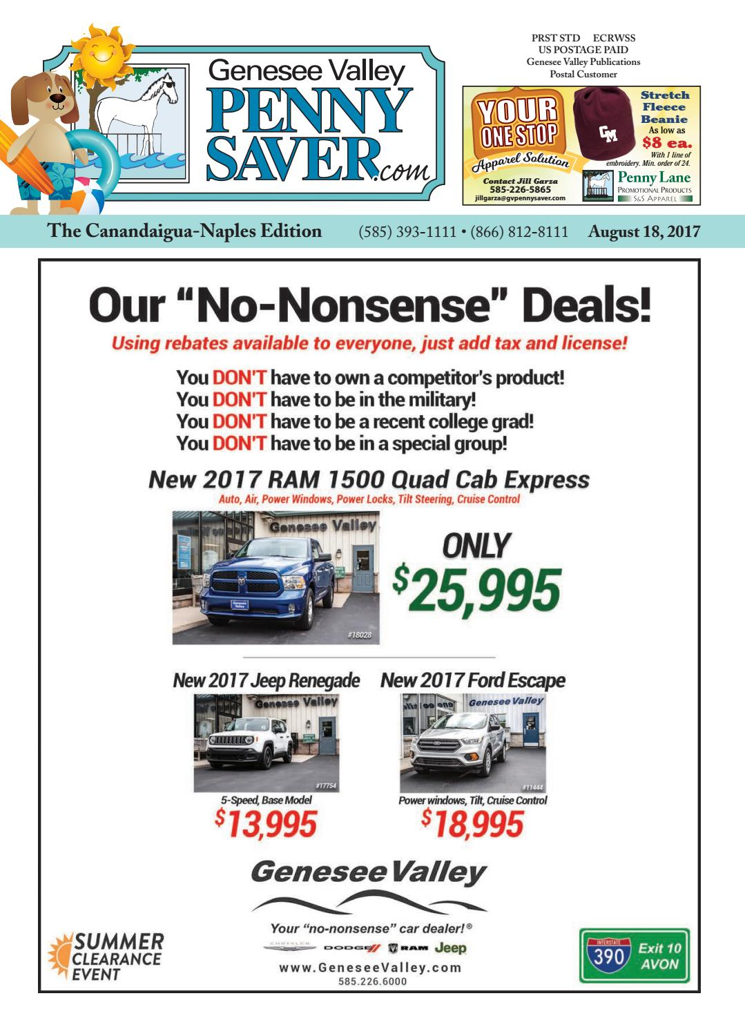 The Genesee Valley Penny Saver Canandaigua-Naples Edition 8/18/17 by  Genesee Valley Publications - issuu
