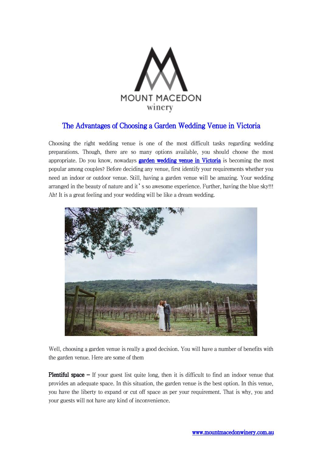 the advantages of choosing a garden wedding venue in victoria by