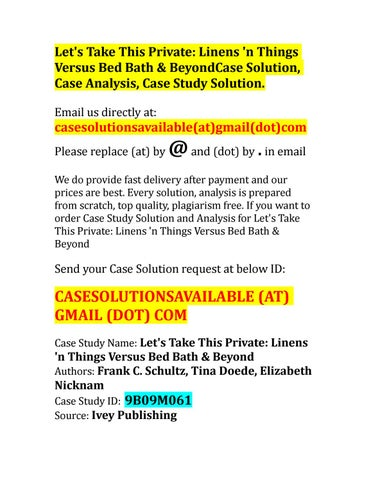 Case Solution For Let S Take This Private Linens N Things Versus
