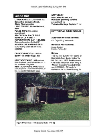 Alpine huts heritage survey 2005 part 2 of 3 by Graeme Butler - issuu