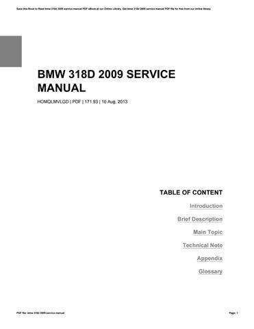 bmw 318d 2009 service manual by ernamoreno3967 issuu rh issuu com JD 318D Specs BMW 318D M Sport