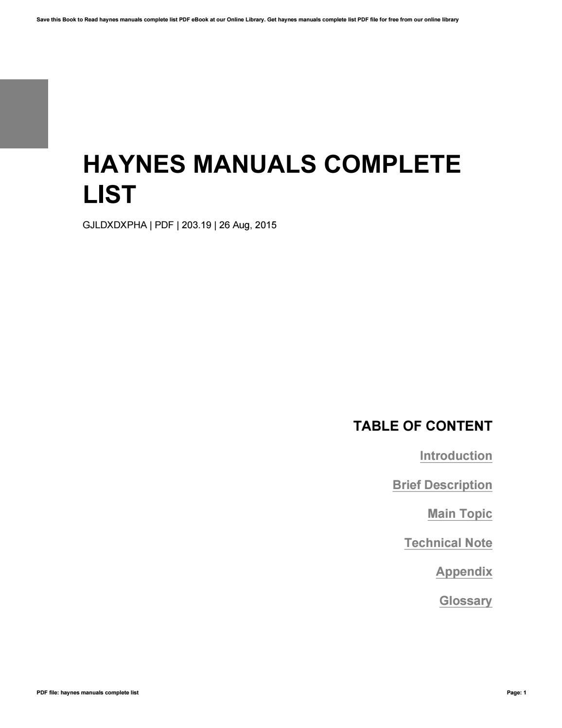 haynes manuals complete list by paulgibbs1370 issuu rh issuu com list of haynes car manuals list of haynes motorcycle manuals