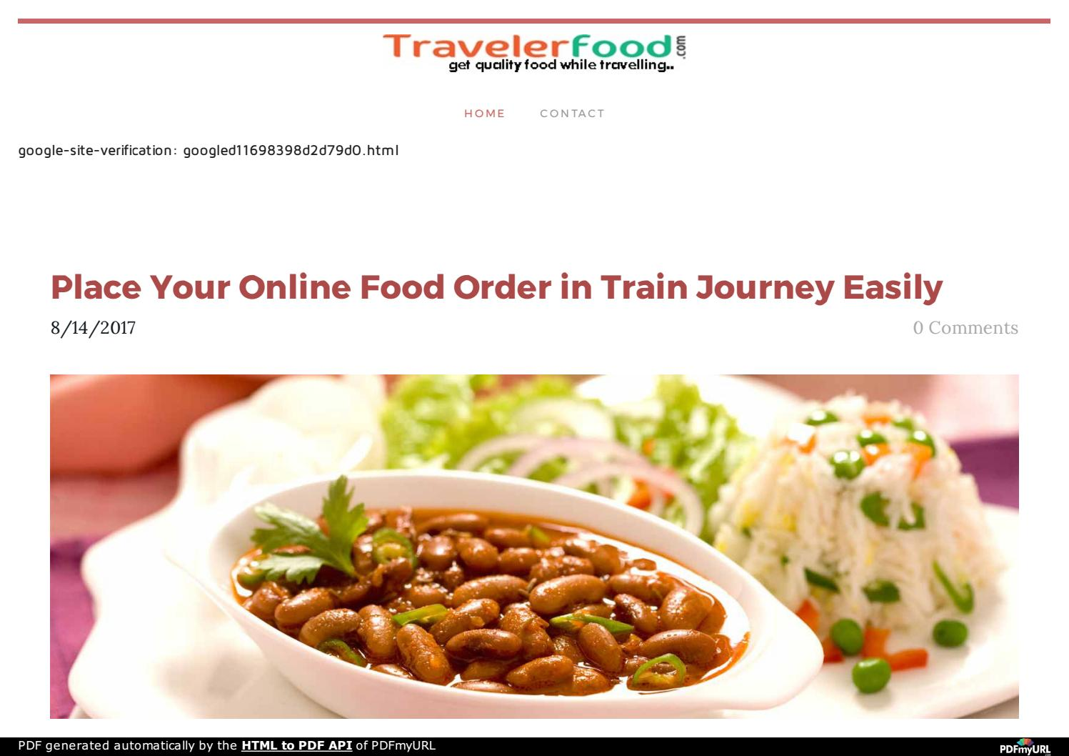 Place Your Online Food Order in Train Journey Easily