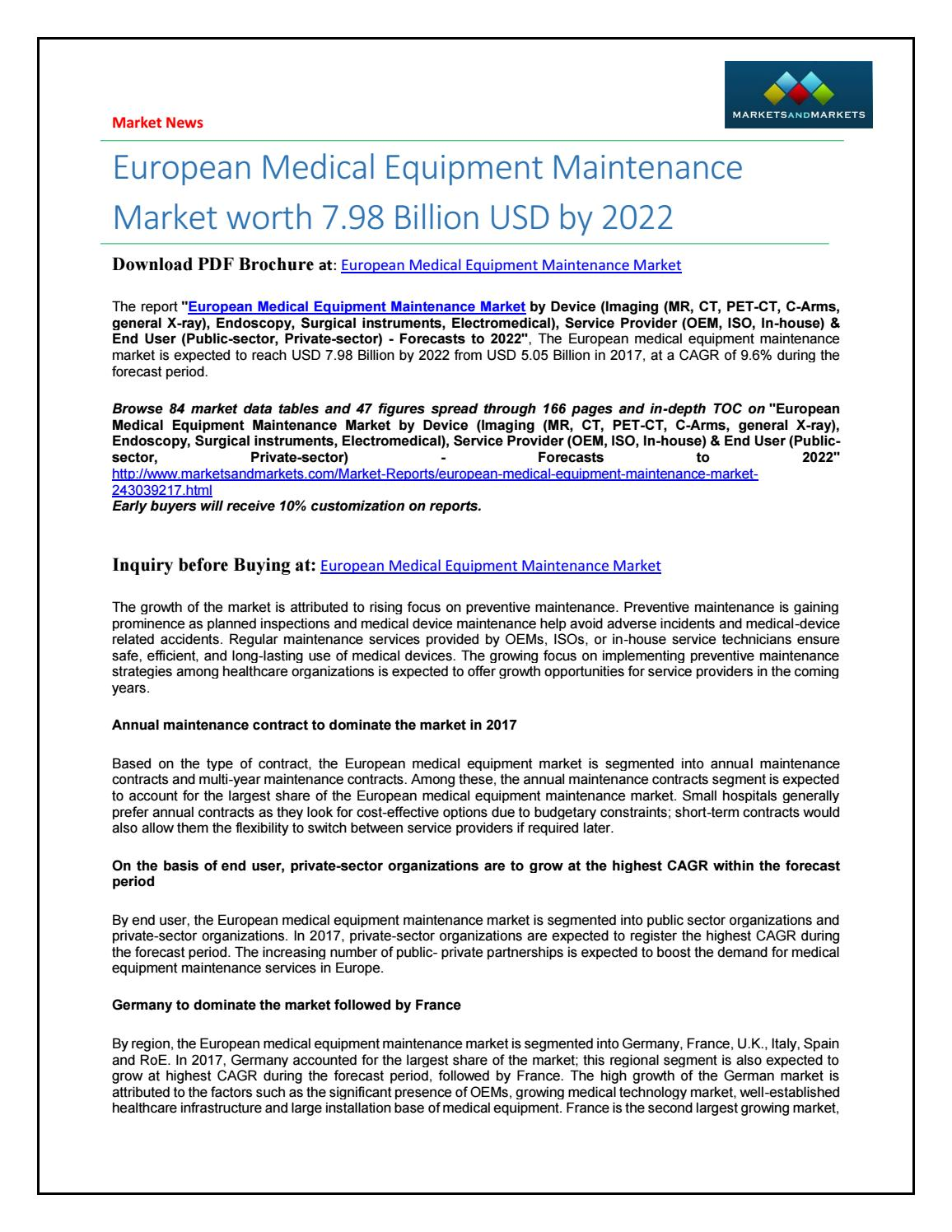 European medical equipment maintenance market by Abhimanyu