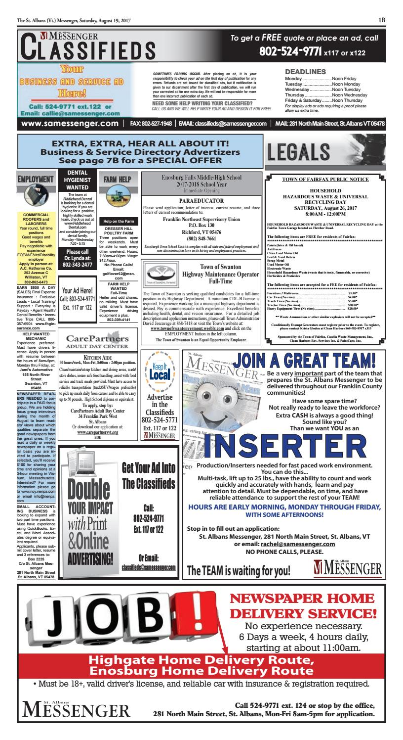 08/19/2017 Classifieds by St  Albans Messenger - issuu
