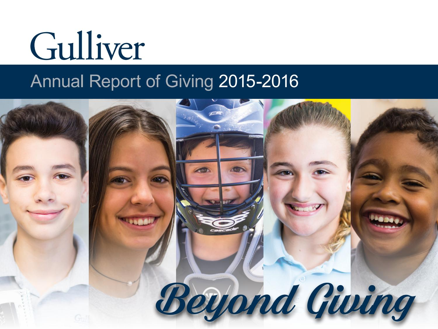 e0f0c65220 Gulliver Annual Report of Giving 2015-16 by Gulliver Schools - issuu