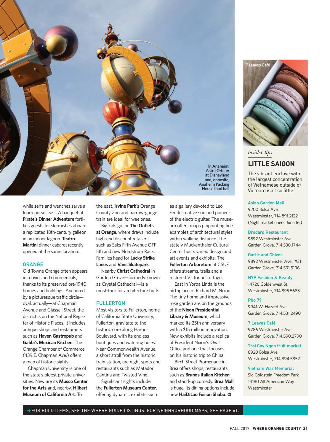 WHERE Orange County Magazine Fall 2017 By SoCalMedia