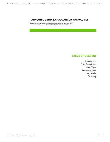 Panasonic lumix dmc-lx7 manual.