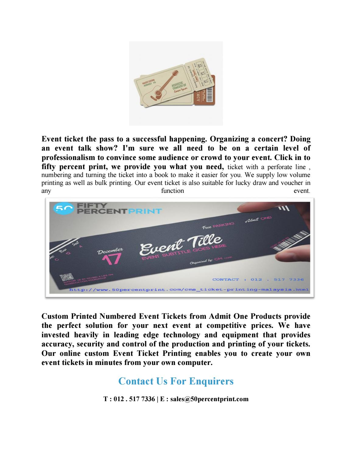 event ticket ticket printing malaysia fifty percent print by