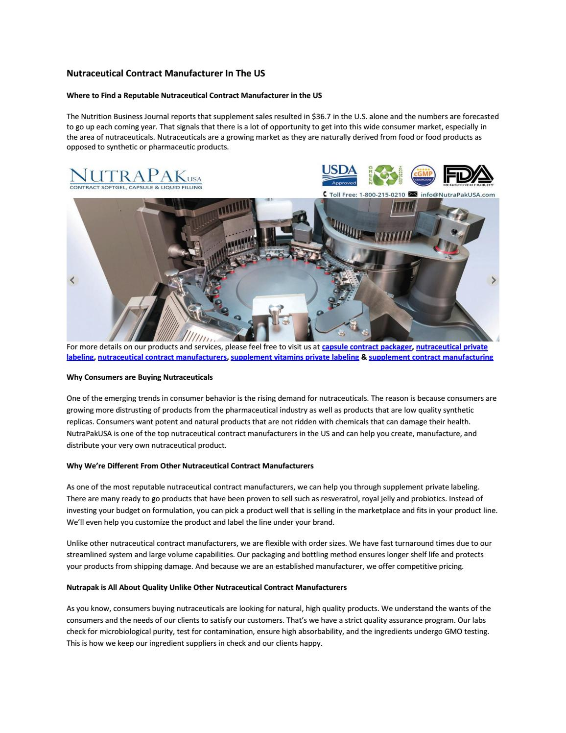Nutraceutical contract manufacturer in the us by nutrapakusa - issuu