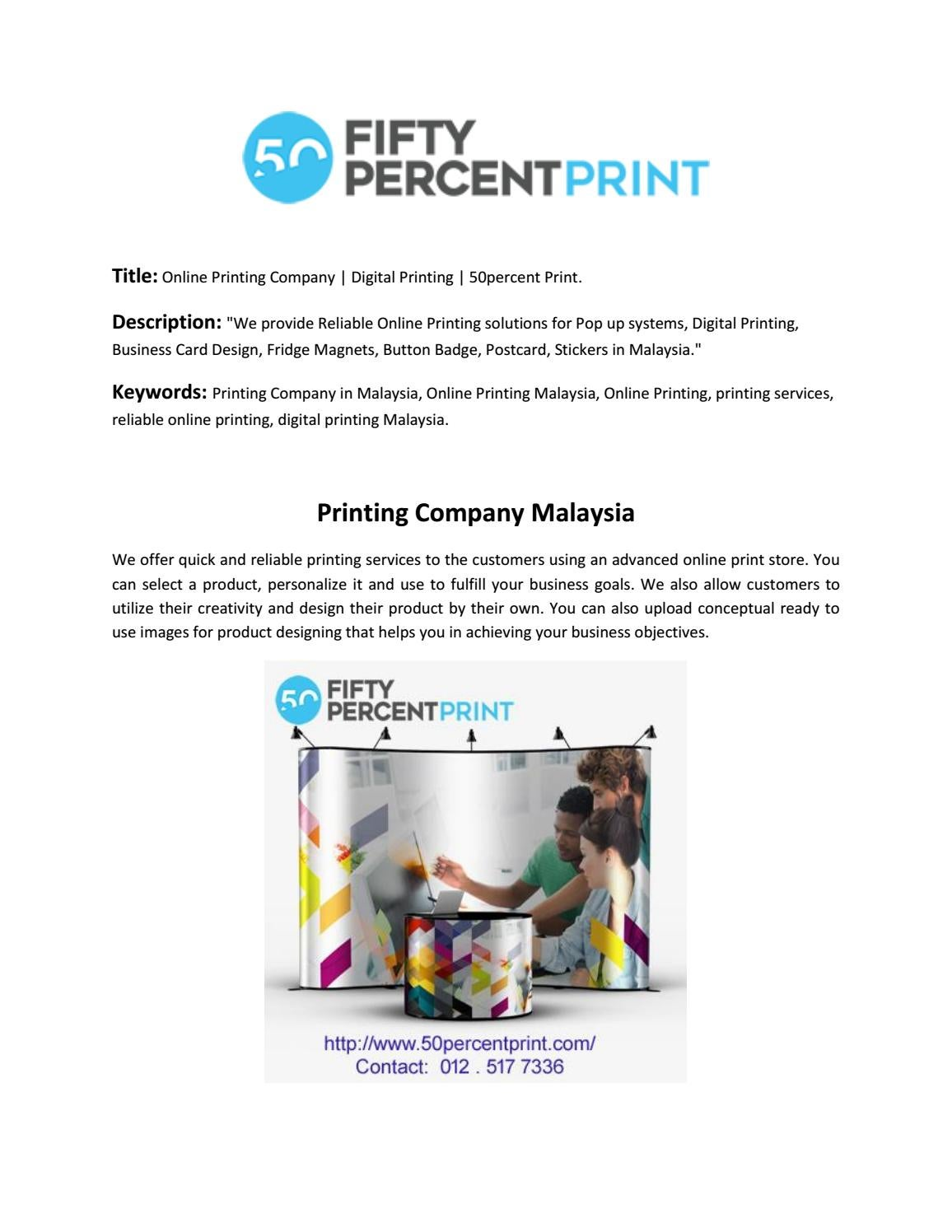 Online Printing Company   Digital Printing   50percent Print by ...