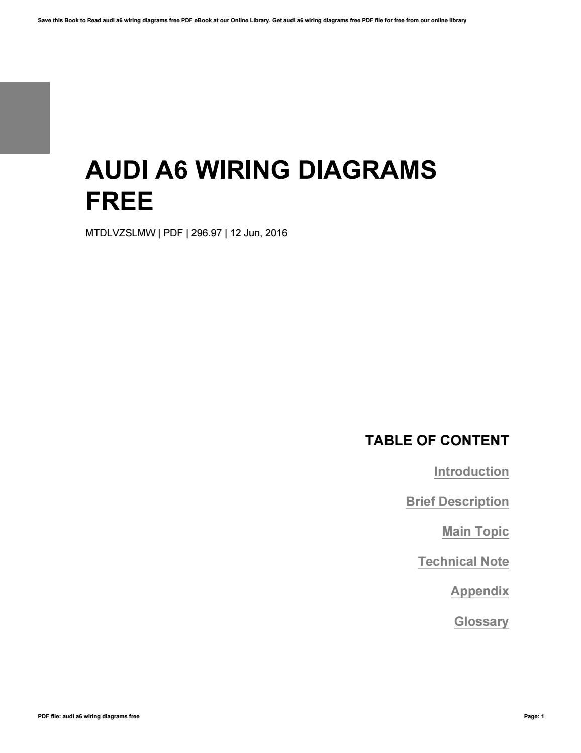 Audi A6 Wiring Diagram Pdf Library Diagrams Free By Jeffreygalloway3614 Issuu