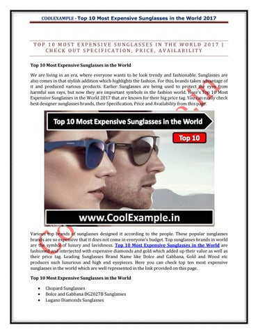 c4cd638708b Top 10 most expensive sunglasses in the world by Cool Example - issuu