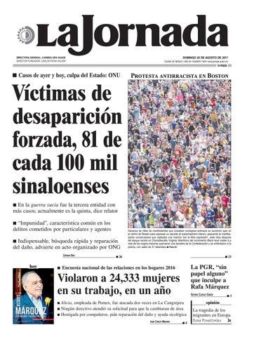 DOMINGO 20 DE AGOSTO DE 2017 CIUDAD DE MÉXICO • AÑO 33 • NÚMERO 11876 •  www.jornada.unam.mx