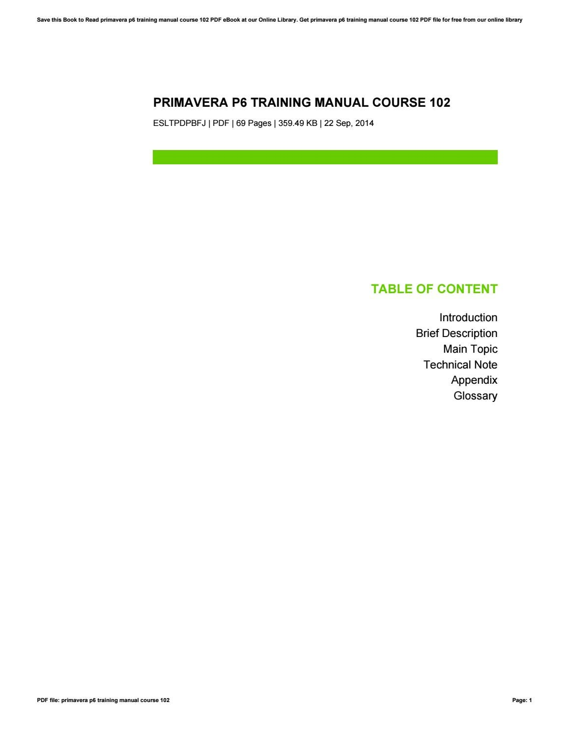 primavera p6 training manual course 102 by jasonotero1722 issuu rh issuu com primavera training manual download primavera training manual download