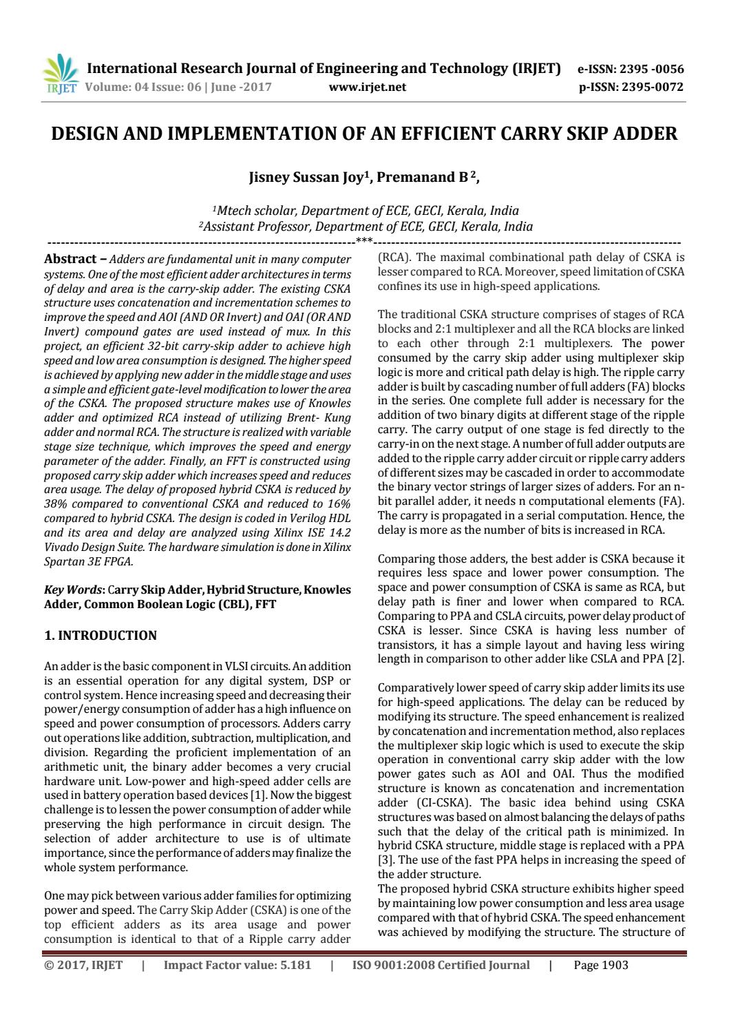 Design And Implementation Of An Efficient Carry Skip Adder By Irjet The 8bit Ripple Uses 8 Ofthese Full Circuits Journal Issuu