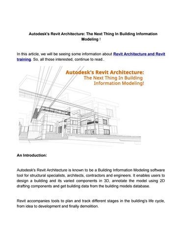 Autodesks revit architecture the next thing in building information