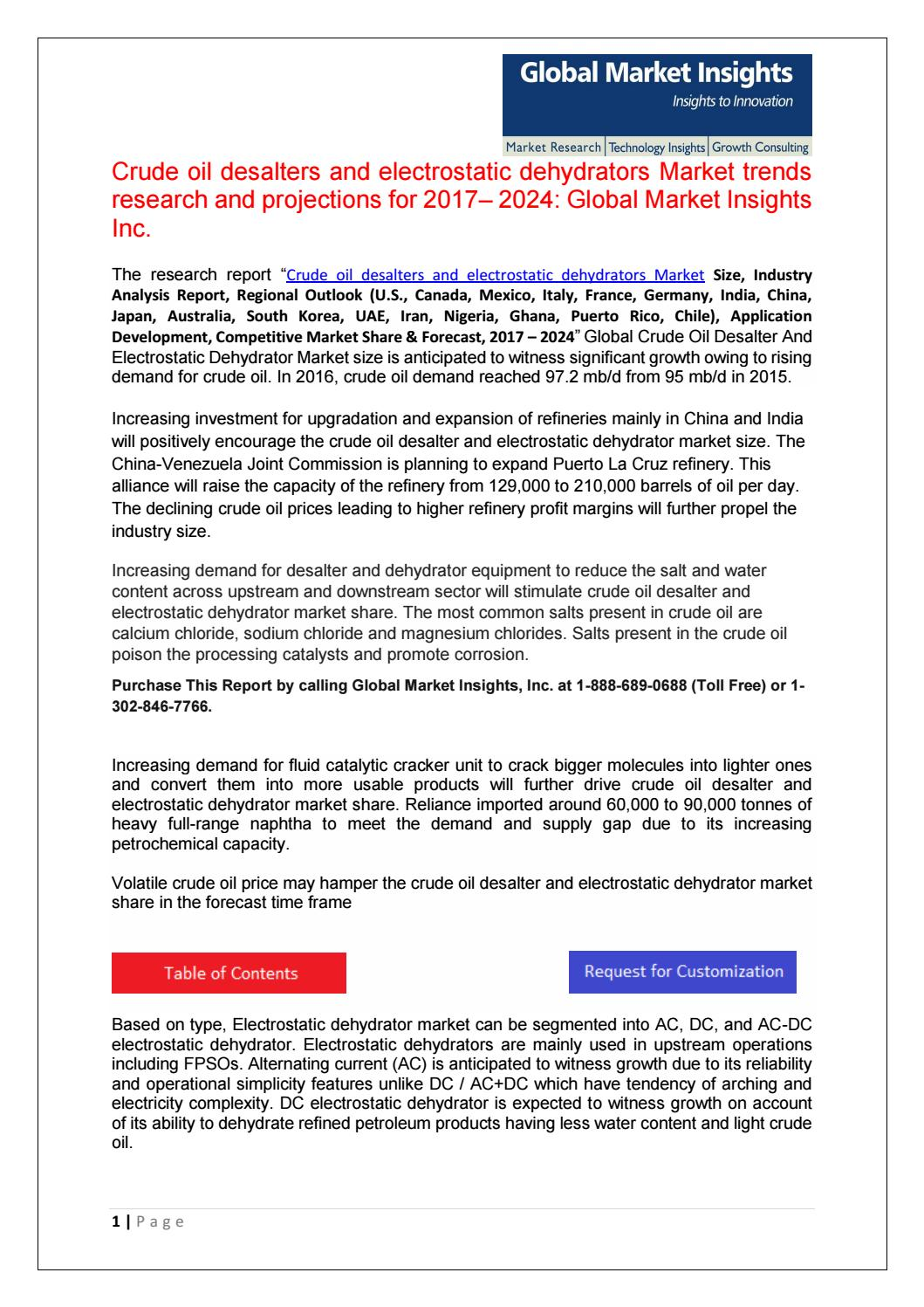 Crude oil desalter & electrostatic dehydrator market by