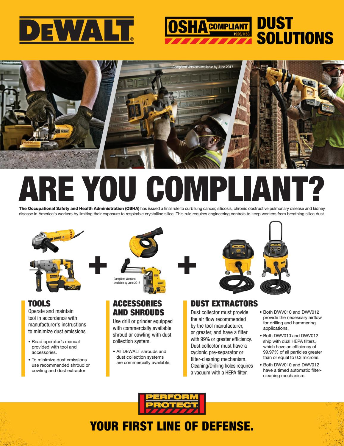 Osha Dewalt Silica Dust Compliance Flyer By Ram Tool