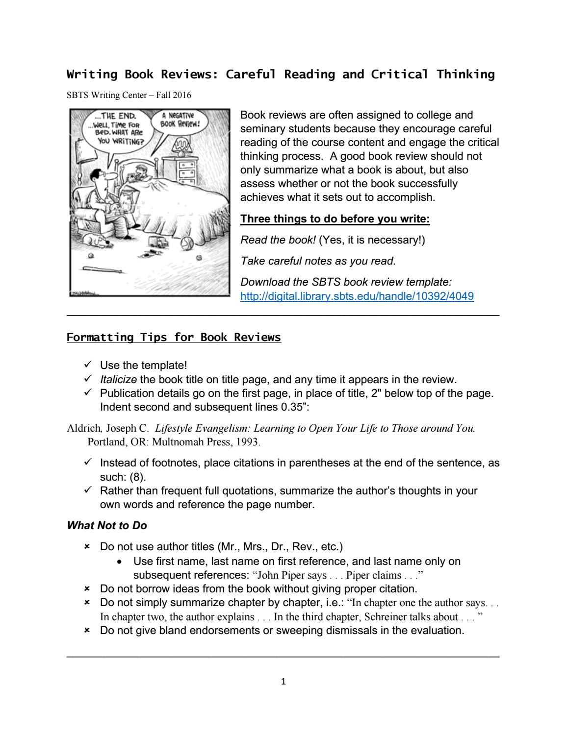 Book review hints 1 by SBTS Writing Center - issuu