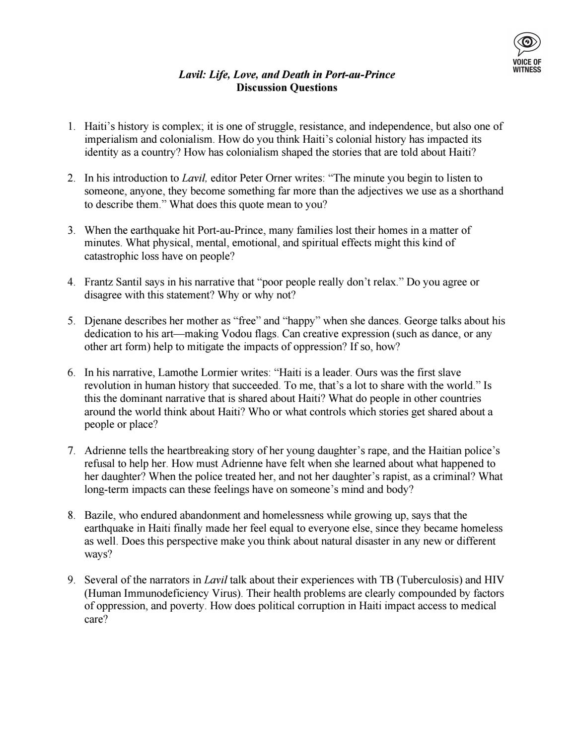 Lavil Discussion Questions By Voice Of Witness Issuu