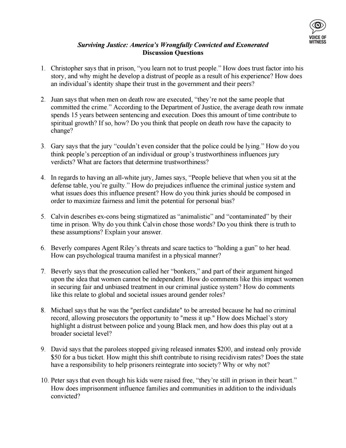 Surviving Justice Discussion Questions by Voice of Witness - issuu