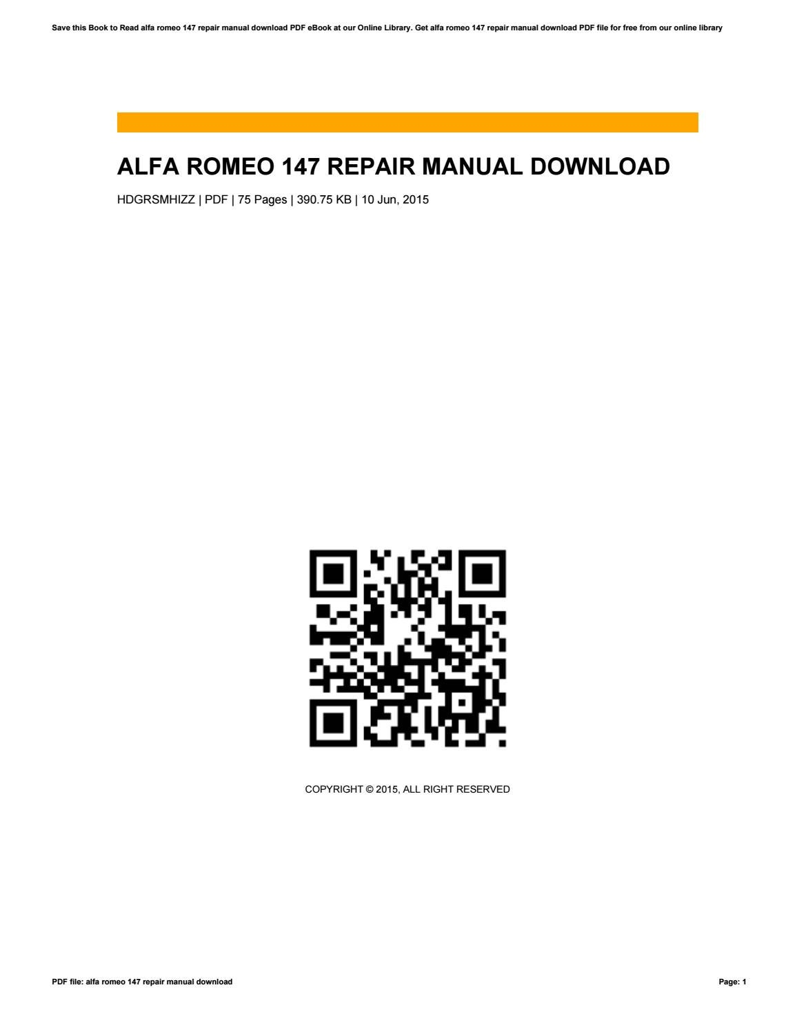Alfa romeo 147 repair manual download by kathysanchez3302 issuu sciox Images