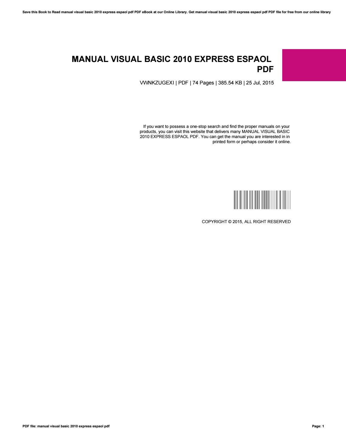 Manual visual basic 2010 express espaol pdf by