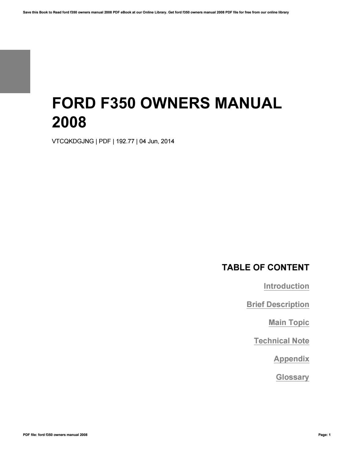 ford f350 owners manual 2008 by robertlong12901 issuu rh issuu com 2008 ford f350 owners manual fuse box 2008 ford f350 6.4 owners manual