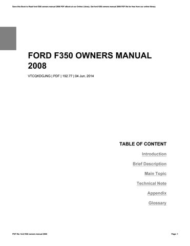 ford f350 owners manual 2008 by robertlong12901 issuu rh issuu com 2008 ford f350 6.4 owners manual 2008 ford f350 owners manual
