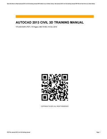 autocad 2013 civil 3d training manual by rubymoshier3266 issuu rh issuu com 3D AutoCAD Tutorial PDF Hard to Learn AutoCAD Civil 3D