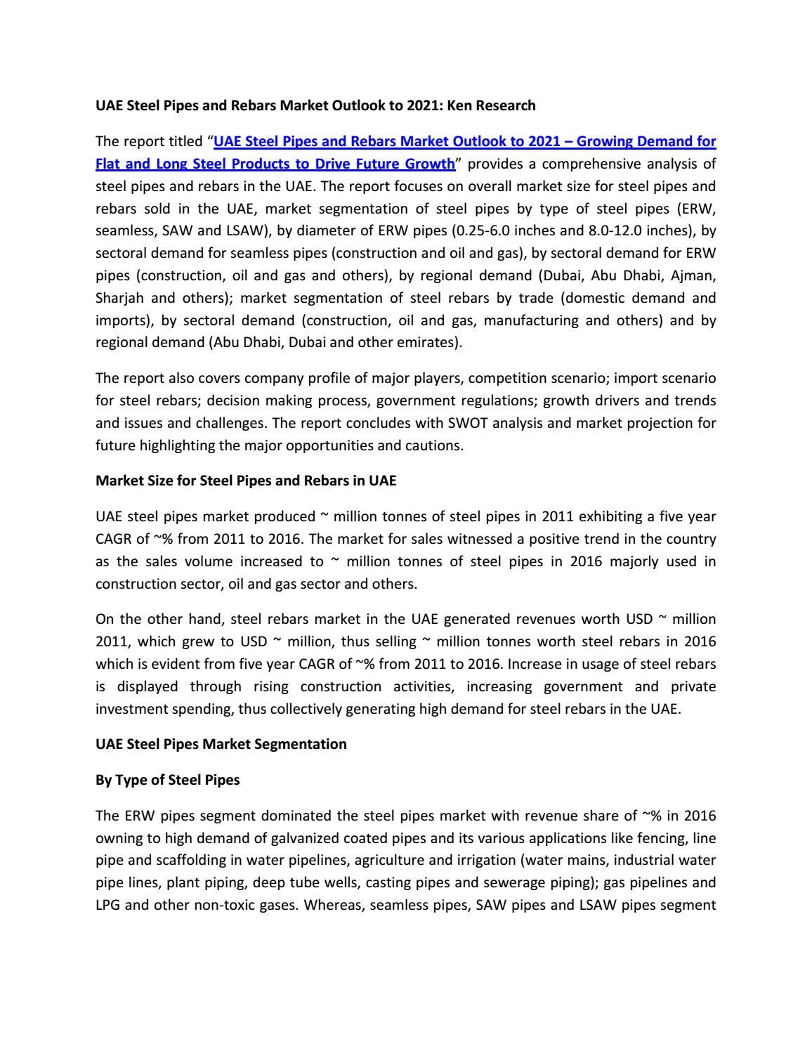 Competition In Steel Pipe Uae, Imports Steel Rebars Uae