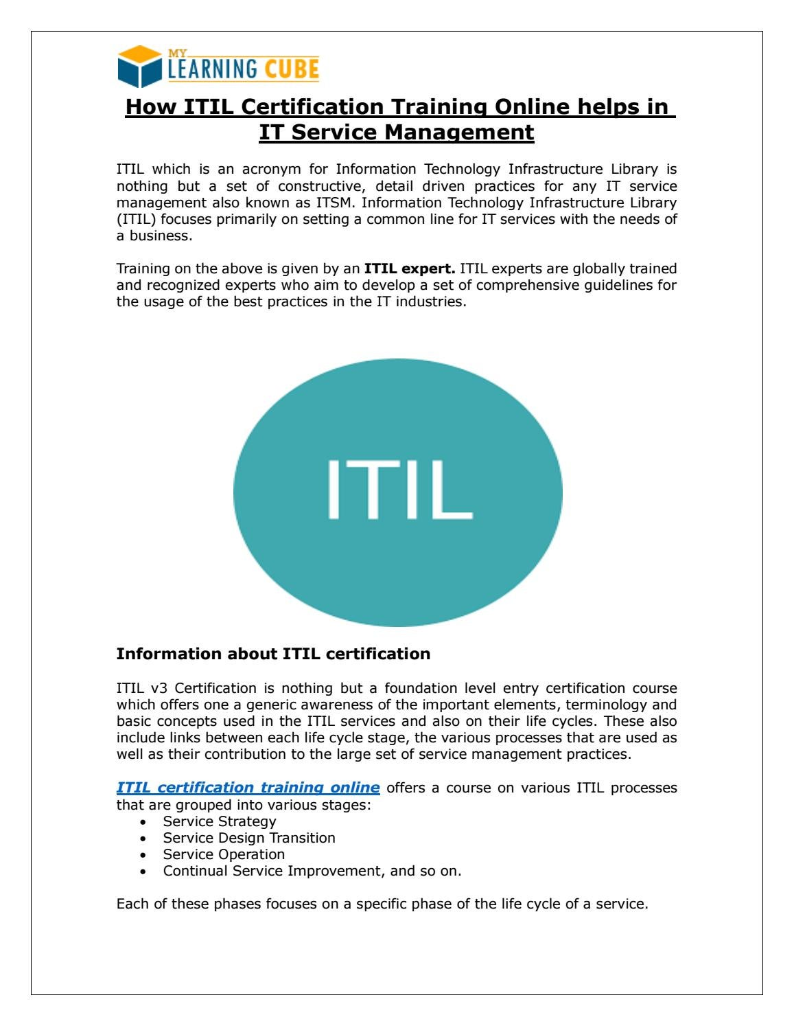Online Itil Certification And Training By Mylearningcube Issuu