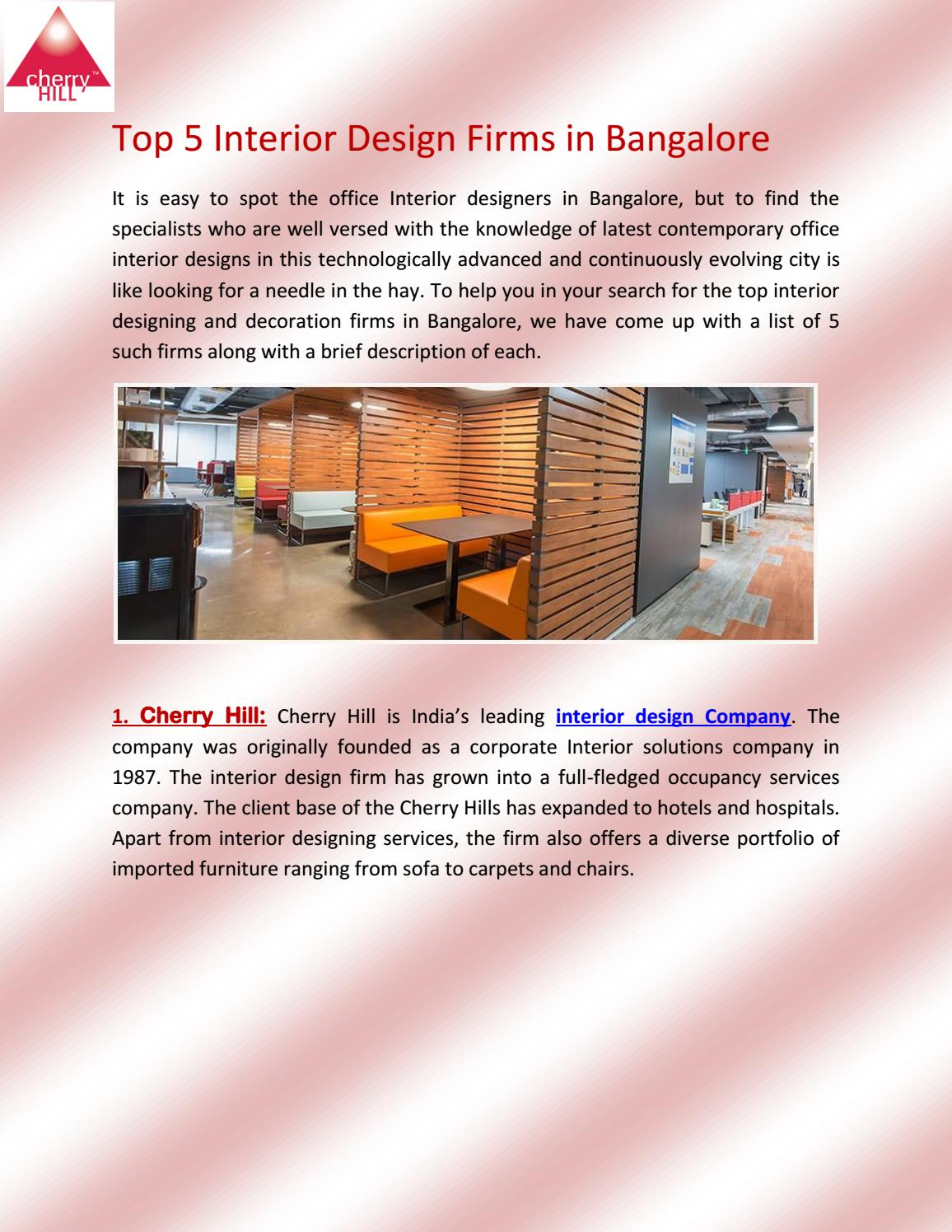 top 5 interior design firms in bangalore by cherry hill issuu