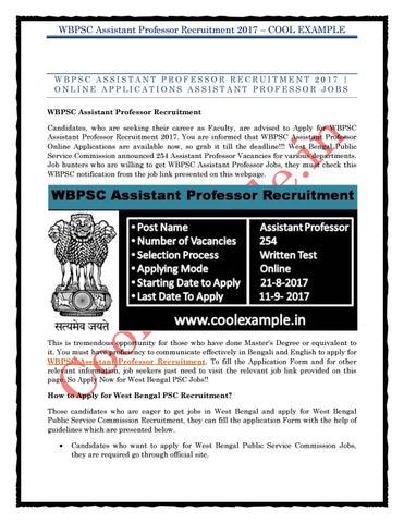 Wbpsc Assistant Professor Recruitment 2017
