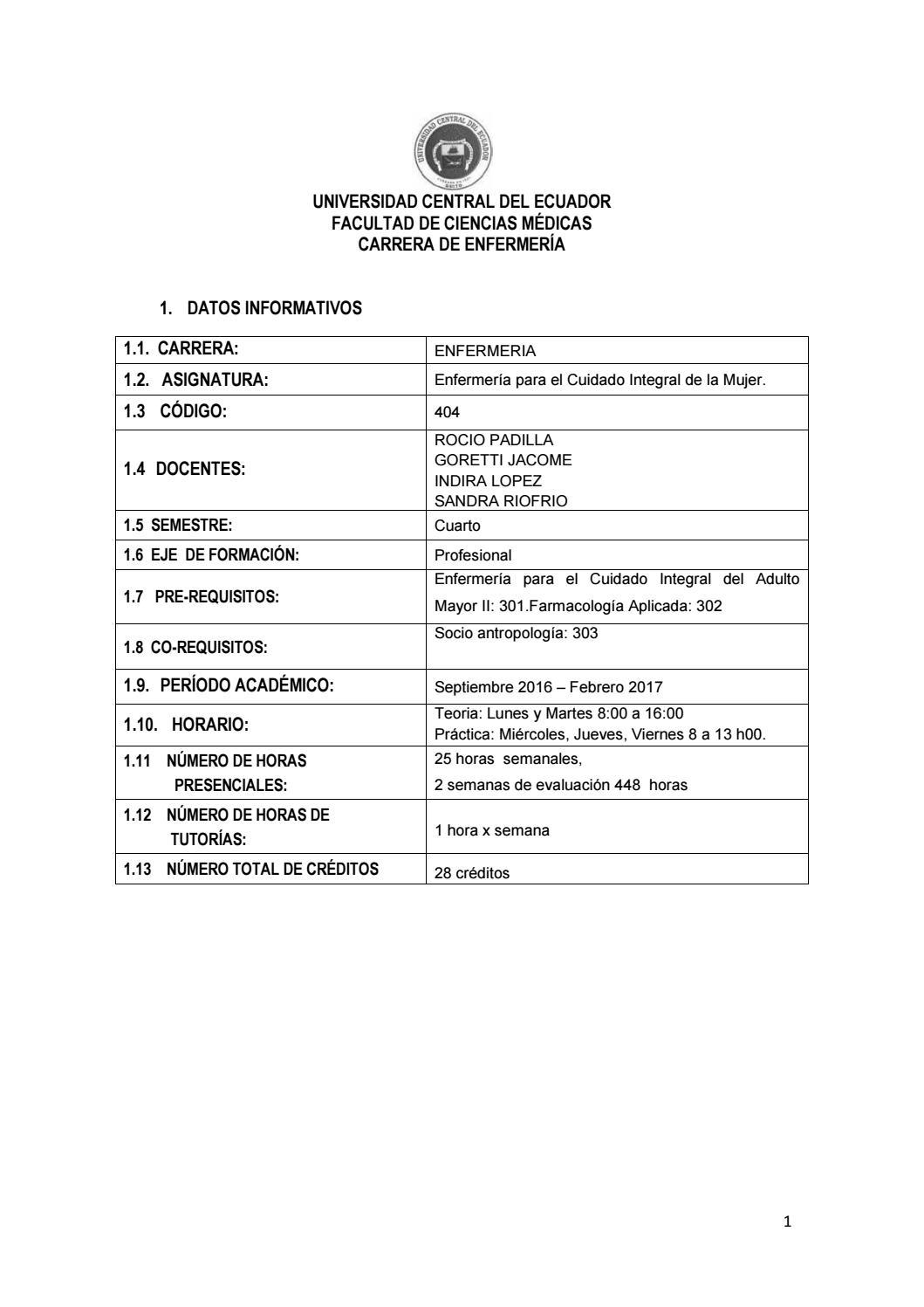 404 enfermeria para el cuidado integral a la mujer 2017 2017 ene by ...