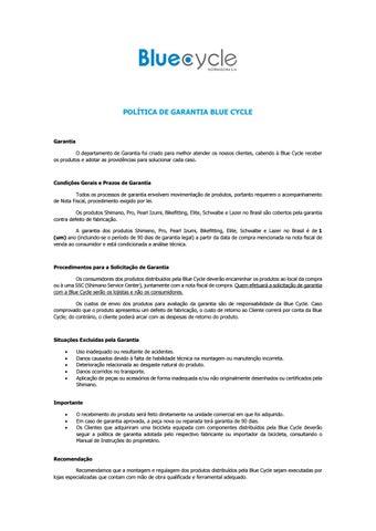 Política de Garantia Blue Cycle by Blue Cycle Distribuidora S A - issuu 178dc13957