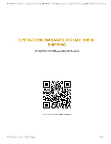 operations manager b s i m f bimini shipping by marymattox4117 issuu