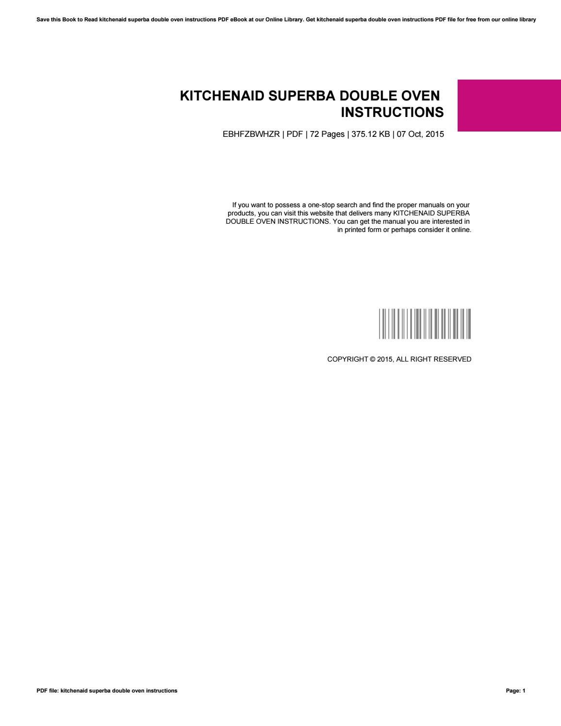 Kitchenaid Superba Double Oven Instructions By