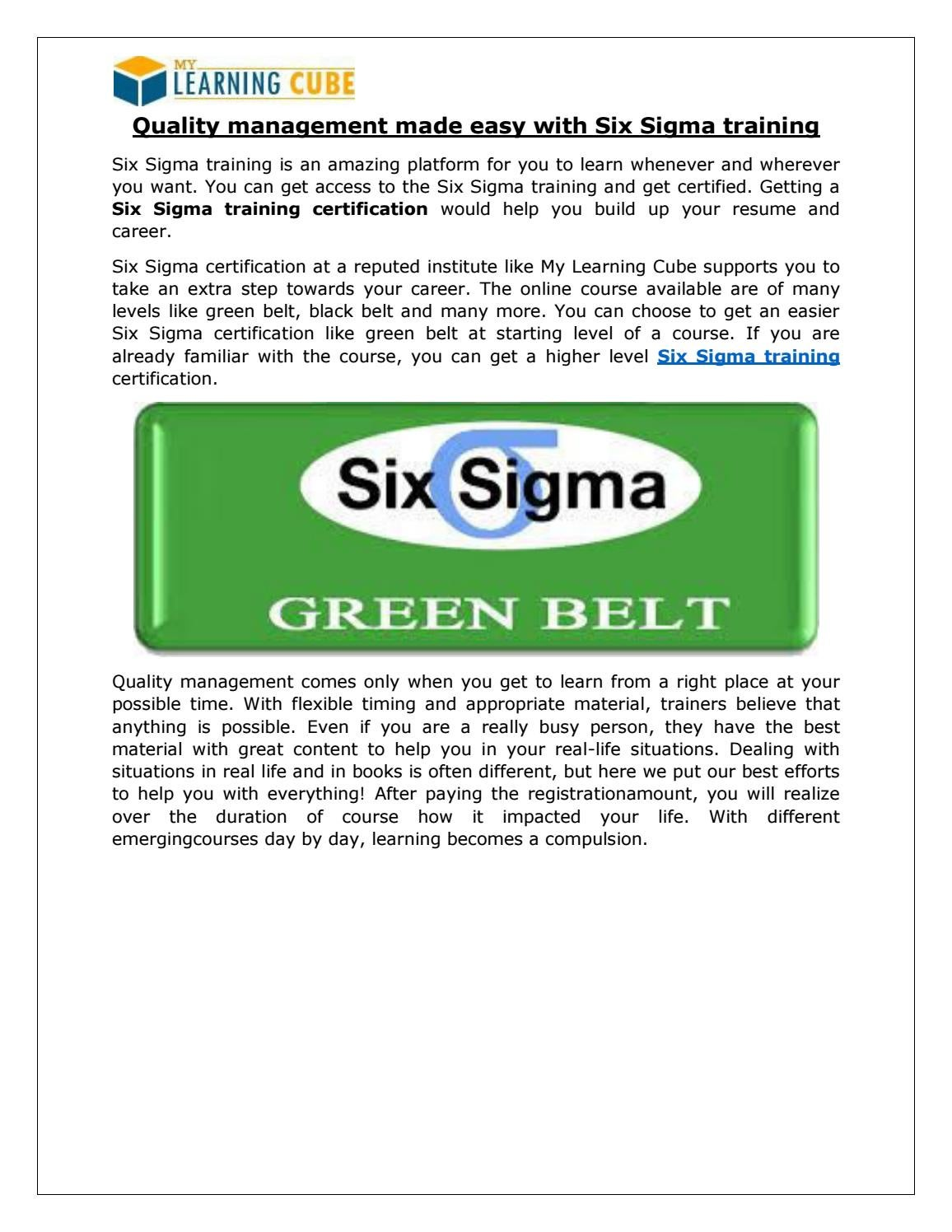 Six Sigma Training Certification By Mylearningcube Issuu