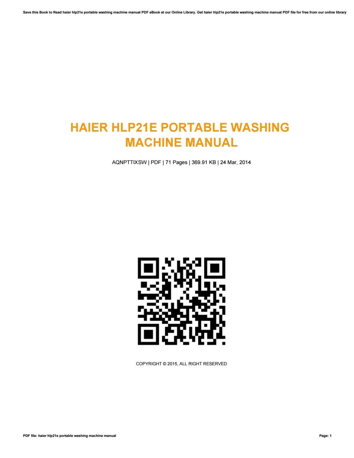 Haier hlp21e portable washing machine manual by ThomasChambers4575 - issuu