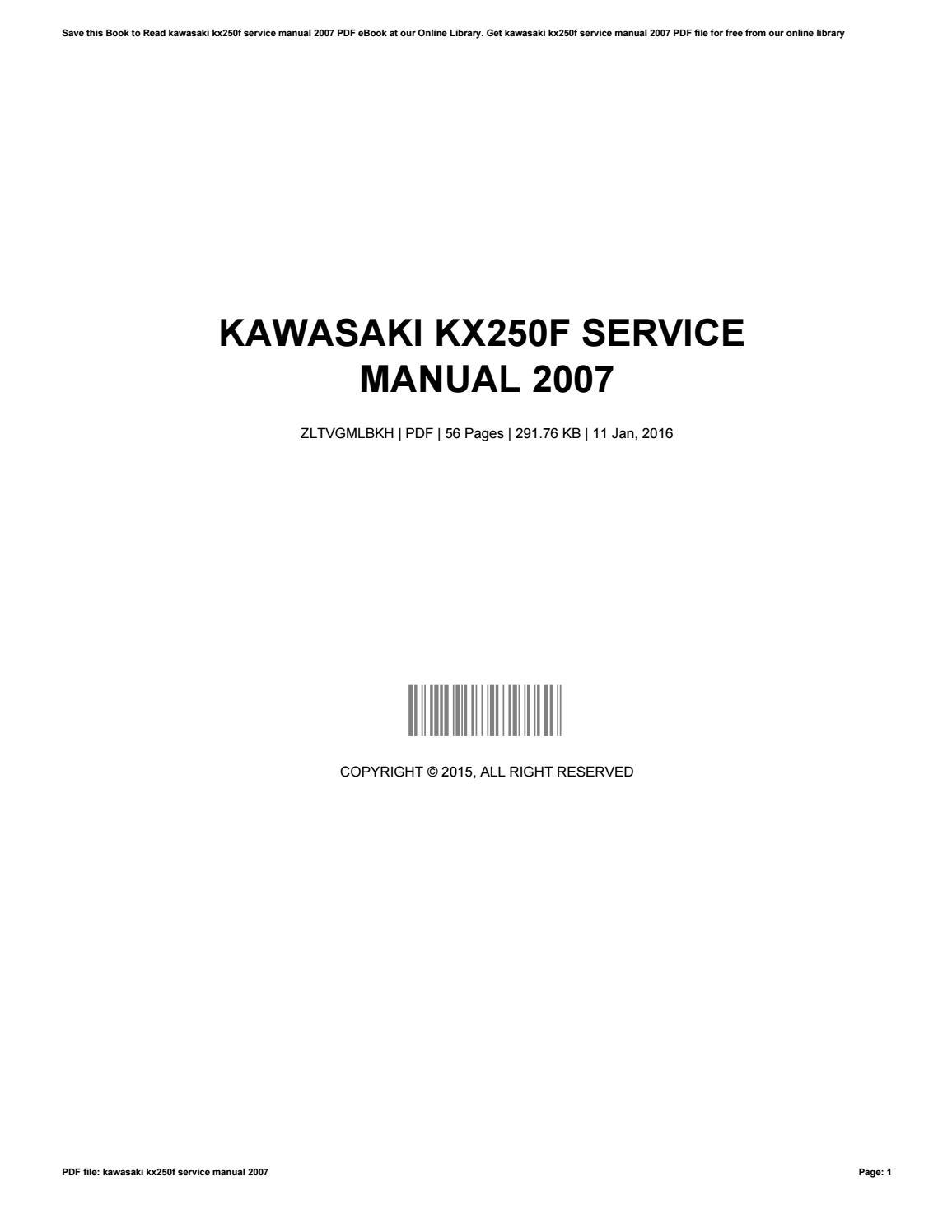 2015 kx250f workshop manual ebook array kawasaki kx250f service manual 2007 by harriettwilliams2229 issuu rh issuu fandeluxe Image collections