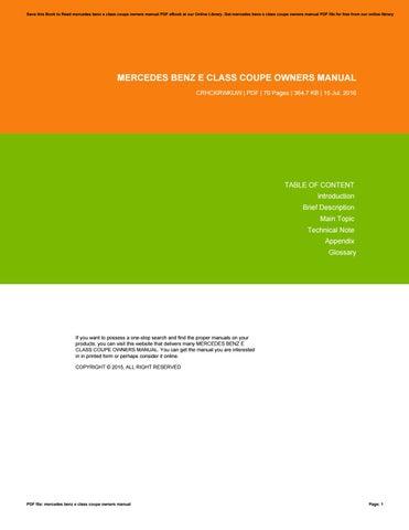 mercedes e class owners manual pdf
