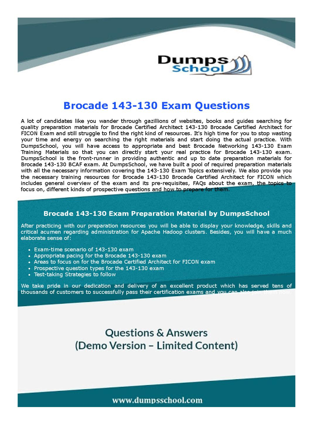 143 130 Brocade Certified Architect For Ficon Questions By